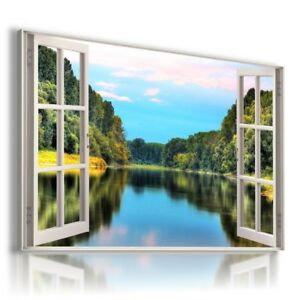 GREEN FIELD RIVER FOREST 3D WINDOW View Canvas Wall Art W684 MATAGA