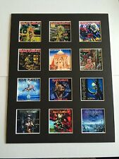 """Iron Maiden 14"""" by 11"""" LP Discography Covers Picture Mounted Ready to Frame"""