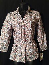NWT!! CHARTER CLUB Women Blouse Shirt Sz 4 Cotton Long Sleeves Button Front Nice