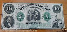 1837 TEN Dollars($10) Lousiana Obsolete Banknote - The Bank of Louisiana XF/UNC