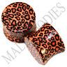 "0195 Double Flare Acrylic Leopard Cheetah Print Saddle Ear Plugs 9/16"" Inch 14mm"