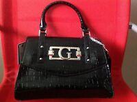 NEW GUESS BLACK SATCHEL BAG PURSE HANDBAG