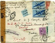 Double weight airmail; New York to India, 1943 dual censor