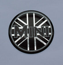Mini UNION JACK STICKER/DECAL - 42mm Negro & Gel semicirculares de cromo acabado de alto brillo