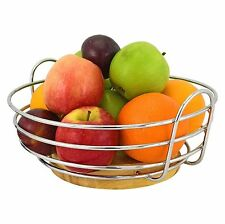 Round Chrome Wire Kitchen Fruit Bowl Basket Stand Apple Orange with Wooden Base