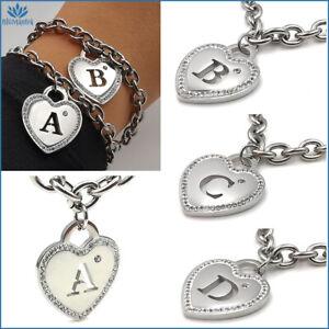 Bracciale da donna in acciaio inox iniziale con cuore lettera nome braccialetto