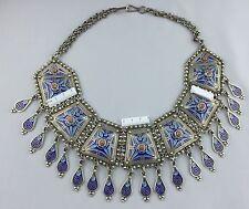 Silver Enamel Moroccan Huge Bib Necklace Blue Berber Ethnic Tribal Dangles 330 g