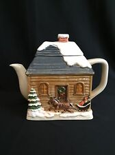 Otagiri Teapot Japan Winter Scene Sleigh Log Cabin