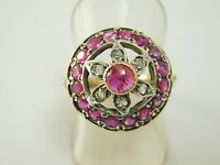 Retro Ruby diamond cluster ring vintage 9 ct gold 1.13 carats size R circa 1940