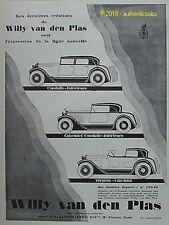 PUBLICITE WILLY VAN DEN PLAS AUTOMOBILE CABRIOLET TORPEDO DE 1926 FRENCH AD PUB