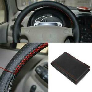 US 38cm Car Truck Leather Steering Wheel Cover With Needles Thread Black + Red