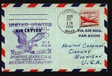 US 1950 FAM 18 Chicago Lebanon Cacheted Aerogramme  - Z16992