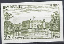 RAMBOUILLET N°2111 ESSAI COULEUR NON DENTELÉ VERT/JAUNE PROOF 1980 NEUF ** MNH