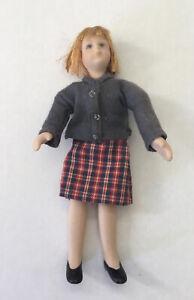 Dolls House Girl Wearing Check Skirt - 11 cm