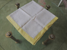 Antique Irish Linen Embroidered Off White & Yellow / Lace Tablecloth 36 X36