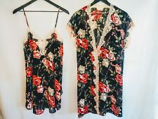 Natori Neiman Marcus Small Two Piece Chemise Lace Trim With Matching Robe NWT