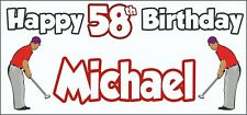 Golf Golfer Mens 58th Birthday Banner x2 Party Decorations Personalised ANY NAME