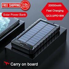 20000MAH SOLAR CHARGER POWER BANK PORTABLE DUAL USB WATERPROOF EXTERNAL BATTERY
