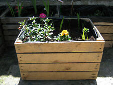 1 x PLANTER VINTAGE RUSTIC FRENCH WOODEN APPLE CRATE GARDEN TROUGH NATURAL