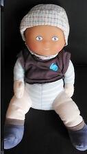 doudou peluche poupée garçon bleu beige brodé lapin COROLLE 31cm