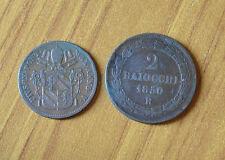 LOTTO 2 MONETE CITTA' DEL VATICANO BAIOCCO 2 BAIOCCHI PIO IX 1850 SUBALPINA