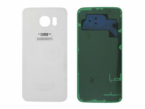 Genuine Samsung Galaxy S6 G920F White Glass Rear Battery Cover with Adhesive - G