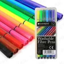 Bazic 12 Color Washable Fiber Tip Pen Markers, Assorted Colors - NEW