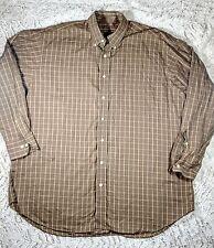 ROBERT TALBOTT Brown Plaid Button Down Shirt, Sz XL