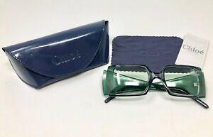 NEW Chloe 78S Green Rhinestone Women's Sunglasses Square Fade Lens