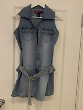 Younique Playsuit Jeans Original Quality Blue  With Zipper And Belt Size S/M