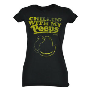 Marshmallow Easter Chillin With My Peeps Tshirt Women Ladies Shirt Candy Tee