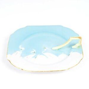 Vintage Chikaramachi Hand Painted Crane Bird Serving Plate W/ Handle Japan