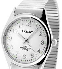 Herren Armbanduhr Weiss/Silber mit Metall-Zugband Zugarmband von AKZENT