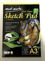 Mont Marte Sketch Pad A3 Black Paper 25 Sheet 140 gsm Draw Pastels Charcoal Book