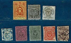 COLOMBIE: Ensemble de 8 timbres (Recommandé, Retardo, divers Etats) -Voir détail