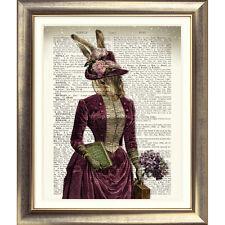 Art Imprimé sur Antique Book Page Lièvre Flower Garden Dictionnaire Photo lapin ancien