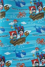 2 SHEETS OF THICK GLOSSY BOYS / CHILDREN'S PIRATE BIRTHDAY WRAPPING PAPER