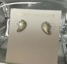 KENDRA SCOTT Temple Earrings Rhodium Plated Ivory Mother-of-Pearl CZ Stud New