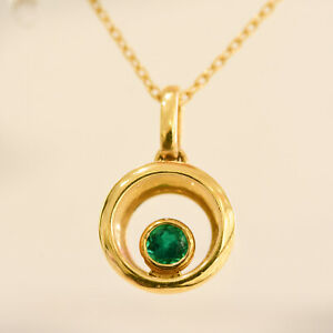 18K Yellow Gold Floating Natural Colombian Emerald Pendant and Chain