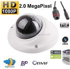 2MP 1080p Vandal Mini Dome IP Camera: IR, 2.8mm, 12v DC, PoE, Onvif