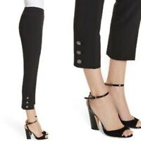 Kate Spade Black Crepe Trousers Pants Size 6 US 10 UK Jewel Button Crop