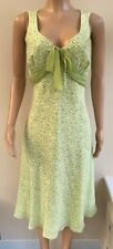 NEW Kaliko Green Pear Print Silk Dress Size 12