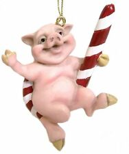 "Pig on a Candy Cane Ornament   BIG SKY CARVERS 3""  New"