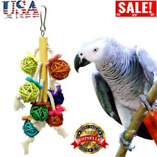 Pet Bird Natural Rattan Ball String Toys Parrots Colorful Chewing Climbing Toy