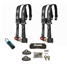 """Pro Armor 4 Point 3"""" Padded Seat Harness Pair Mount Kit Bypass Black General"""