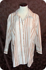Womens Kim Rogers Shirt Plus Size 1X Brown White 3/4 Sleeve Button Down Cotton