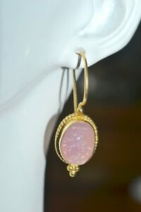 TAGLIAMONTE 925SSYGPL*EARINGS*VENETIAN CAMEO OVAL*SOFT PINK*FLOWERS*NEW