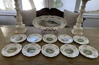 Antique PM Moschendorf Factory Bavaria~ Set of 10 Plates w Serving Tray~ FISH
