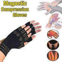 Pair Copper Arthritis Compression Gloves Hand Support Joint Pain Relief Magnetic