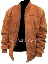 Classyak Mens Fashion Bomber Suede Leather Jacket, All Sizes